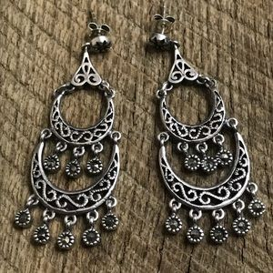 925 Sterling Silver Dangle Earrings w/ Marcasite